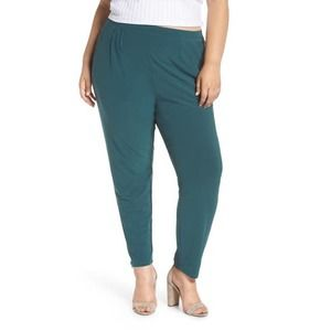 Leith Green High Rise Pleated Pants Stretchy Sz 4X